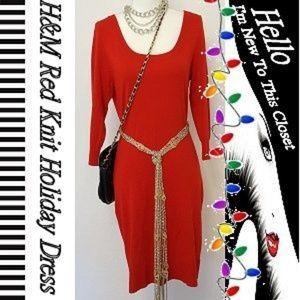 H&M Red Knit Holiday Dress-Medium